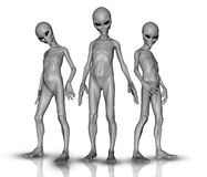 3D aliens in a group Royalty Free Stock Photos