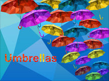 D'alimentation poly vecteur multicolore de parapluies bas Images stock