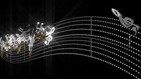 3d alpha- muzieknota's die met abstracte lijn stromen stemmen op alpha- transparante achtergrond royalty-vrije illustratie
