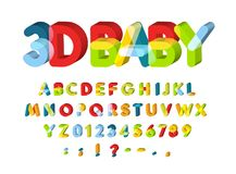 3D Alphabet for Baby Zone decoration. Kids zone vector font. Caolorful funny 3D letters with softed corners. Back to. School ABC template royalty free illustration