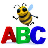 3d Alphabet bee. 3d render of a bee with the letters ABC Stock Image