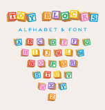 3D alphabet blocks, toy baby blocks font. In bright colors vector illustration