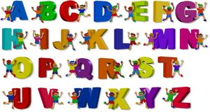 3d Alphabet Boys. A group of happy little boys standing with giant letters of the alphabet Royalty Free Stock Images