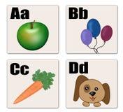 A - D alphabet cards Stock Image