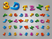 3D alphabet colorful font style. Vector illustration. Stock Photography