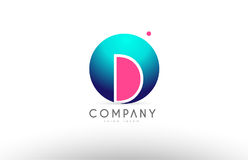 D alphabet 3d sphere letter blue pink logo icon design. D alphabet logo 3d blue sphere letter blue pink  creative company icon design template modern Stock Images