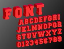 3d alphabet font template. Letters and numbers vintage design. Vector illustration Stock Photos