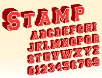 3d alphabet font template. Letters and numbers vintage stamp design. Vector illustration Stock Photo