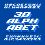 3D alphabet font. Three-dimensional effect letters, numbers and symbols with shadow. Stock vector typography for your design stock illustration