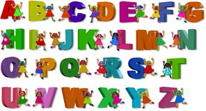 3d Alphabet Girls. A group of happy little girls standing with giant letters of the alphabet Royalty Free Stock Photos