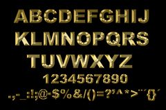 3d alphabet with gold letters on a black background. Image of alphabet with gold letters on a black background Stock Photos