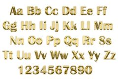 3d alphabet in gold letters on a white background. Image of 3d alphabet in gold letters on a white background Royalty Free Stock Photo