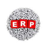 3d alphabet letter character sphere ball erp. 3d rendering of erp cubes boxes inside sphere ball made up of random alphabet character letter Royalty Free Stock Photo