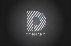 D alphabet line stripe white blue letter logo icon design Royalty Free Stock Images