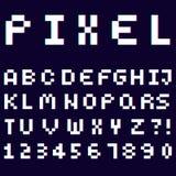 3d alphabet made of pixel design font stock illustration