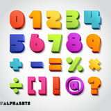 3D alphabet number color. Vector illustration. Royalty Free Stock Image