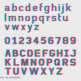 3D alphabet and numbers font. Royalty Free Stock Image