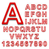 3d Alphabet set red font on a white background. Vector illustration. 3d Alphabet set red font on a white background. Vector Royalty Free Stock Photos