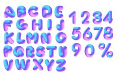 3D Alphabet vector and 3D vector numerals. Soft flexible neon 3D alphabet and set of lilac pink volumetric 3D numerals on a white background. Vector isolated Stock Photo