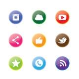 3d alrededor y diseños del botón del círculo de cámara, como, pájaro del mensajero Imagen de archivo