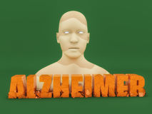 3d Alzheimer text. Human figure and 3d Alzheimer text Stock Photo