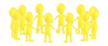 3d amarillean el carácter, caracteres que se unen al togheter de las manos en una forma circular libre illustration