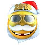 3d amarillean sonrisa del emoticon con el sombrero 2018 de la Navidad Imágenes de archivo libres de regalías