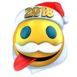 3d amarillean sonrisa del emoticon con el sombrero 2018 de la Navidad Fotografía de archivo libre de regalías