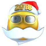 3d amarillean sonrisa del emoticon con el sombrero 2018 de la Navidad Imagen de archivo