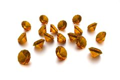 3D Amber - 18 Gems. White Background Royalty Free Stock Photos