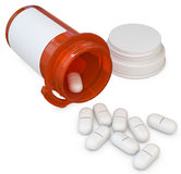 3d amber plastic medical container with capsules. Blank for label on white background Royalty Free Stock Photo
