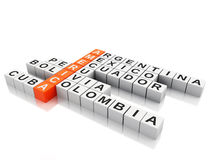 3d America  concept. Crossword with letters.  white back Stock Photography