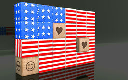 3D american flag. 3D american flag on reflect backgroung Royalty Free Stock Photo