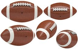 3d american football ball. Collection of american football ball isolated on white 3d rendering image Stock Photos