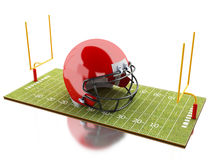 3d American Football field with red helmet. Royalty Free Stock Image