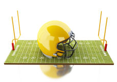 3d American Football field with yellow helmet. 3d renderer image. American Football field with yellow helmet. Sport concept.  white background Stock Photography
