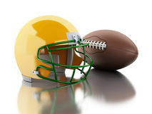 3d American football helmet and ball. 3d renderer image. American football helmet and ball. Sport concept.  white background Royalty Free Stock Photo