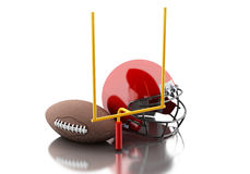 3d American football helmet, football goal and ball. 3d renderer image. American football helmets, football goal and ball. Sport concept.  white background Royalty Free Stock Photography