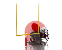 3d American football helmet and football goal. 3d renderer image. American football helmets and football goal. Sport concept.  white background Stock Image