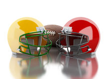 3d American football helmets and ball. 3d renderer image. American football helmets and ball. Sport concept.  white background Royalty Free Stock Photography