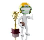 3d American football player with ball and trophy. 3d renderer image. American football player with ball. Sport concept.  white background Royalty Free Stock Photography