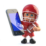3d American football player holding a smartphone tablet device Royalty Free Stock Images