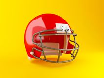 3d American football red helmet. Sport concept. 3d renderer image. American football red helmet on yellow background. Sport concept Stock Photography