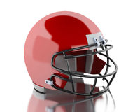 3d American football red helmet. Sport concept. 3d renderer image. American football red helmet. Sport concept.  white background Royalty Free Stock Photo