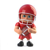 3d American footballer holds the ball. 3d render of a cartoon style American footballer character holding the football Stock Photo