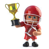 3d American footballer holds up a gold trophy. 3d render of an American footballer holding up a gold winners trophy Stock Photo