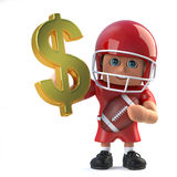 3d American footballer holds US Dollar currency symbol in gold. 3d render of an American football player holding a US Dollar currency symbol made of pure gold Stock Images