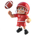 3d American footballer leaps for the football. 3d render of a cartoon style American footballer leaping for the football Royalty Free Stock Image