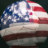 3d Soccer Ball with American Flag Illustration. 3d American Soccer Ball, Football Ball with Brazil Flag, USA Colours Football Championship Design Banner Royalty Free Stock Photos