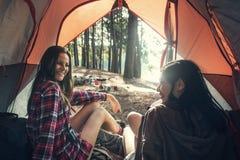 D'amis de camping de tente en bois concept dehors Photo libre de droits